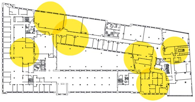 Plan d'aménagement du deuxième étage de l'édifice de la Fabrique